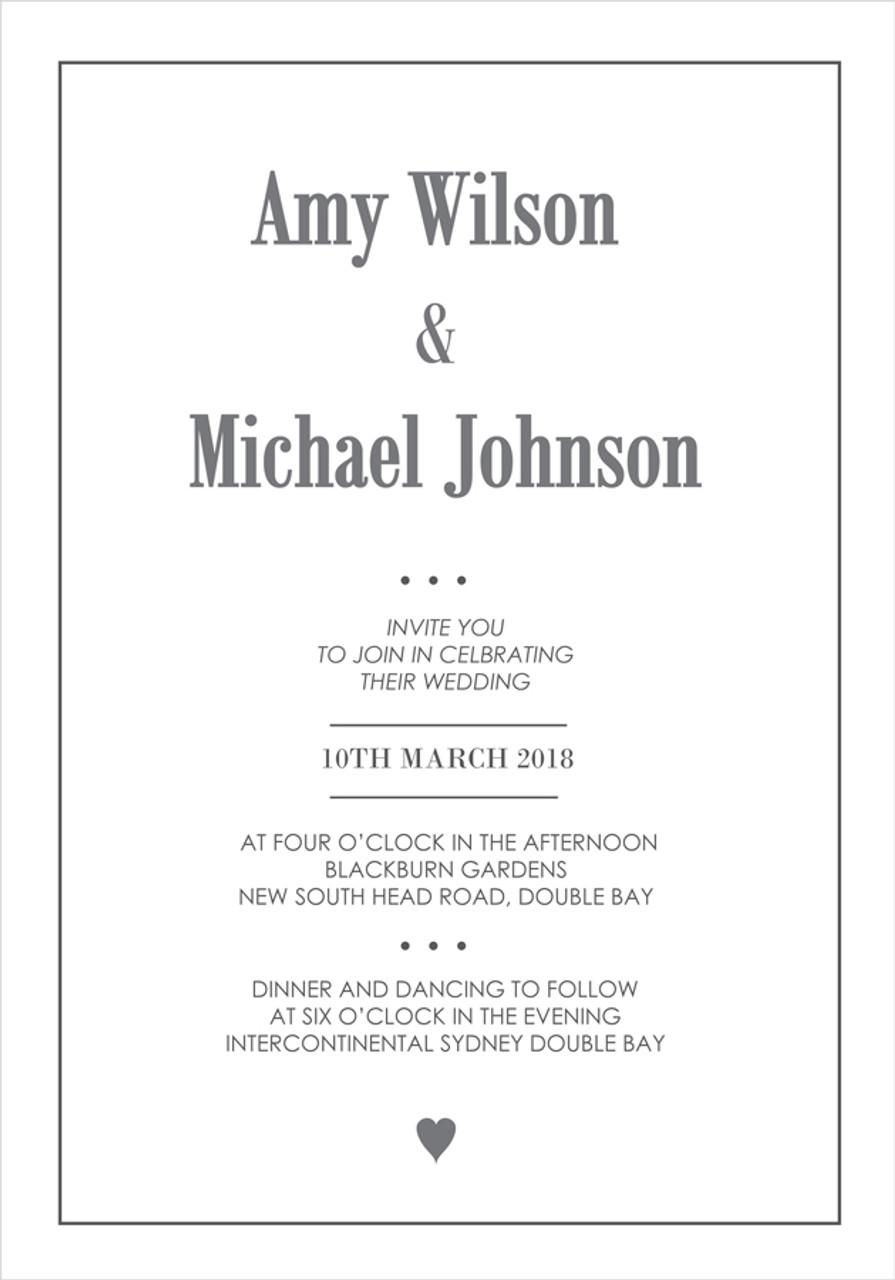 Heart Wedding Invitation - Wedding Invitations Sydney & Australia