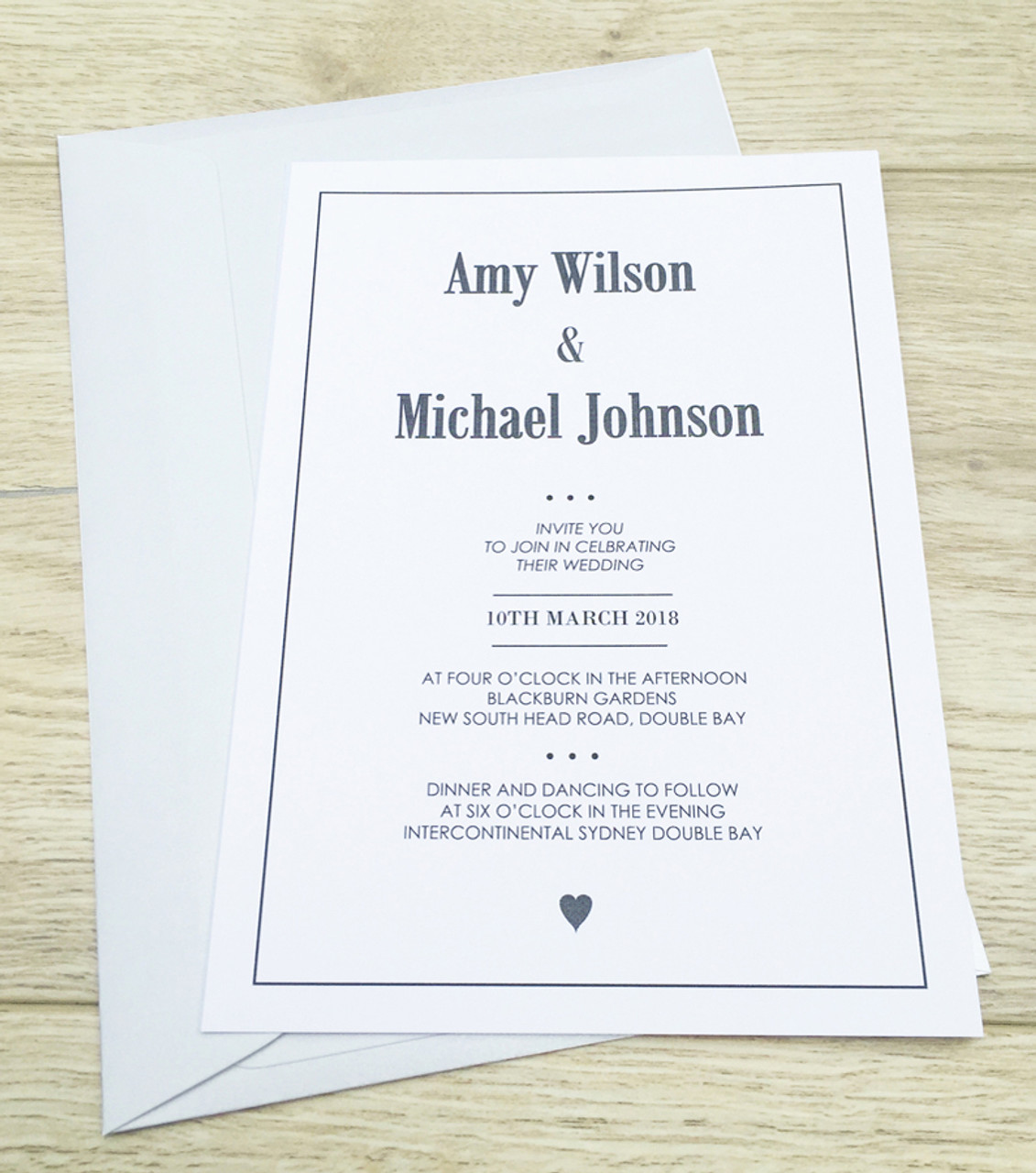 Heart Wedding Invitation Sample