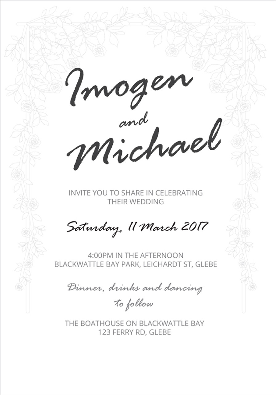 Bridal Arch Wedding Invitation Sample