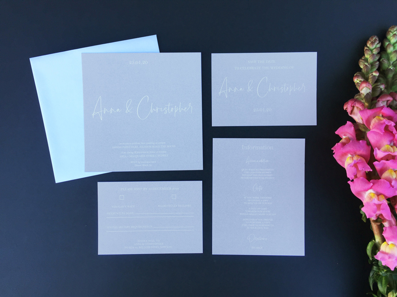 Square Wedding Invitation - White on Grey