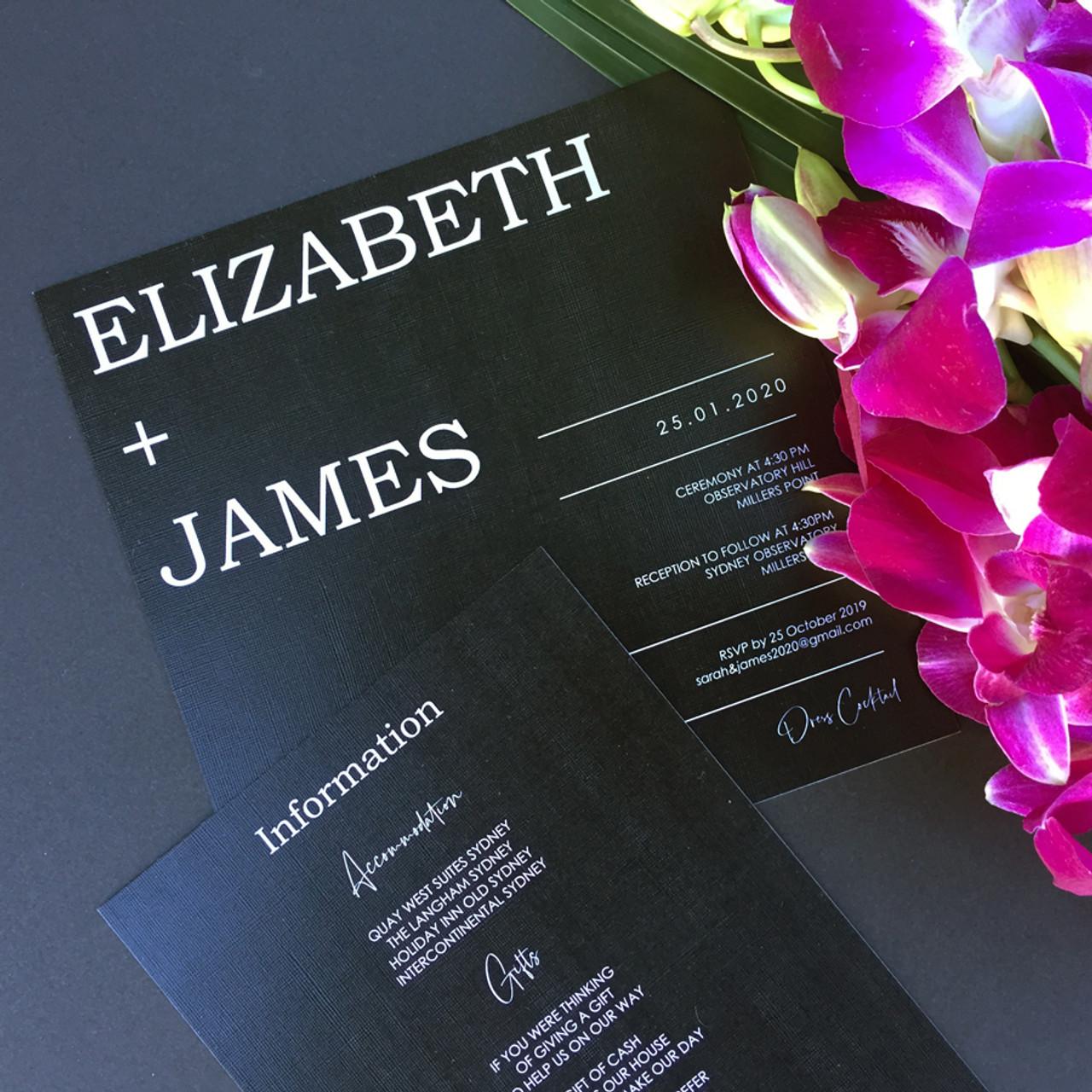 Square Wedding Invitation - White on Black