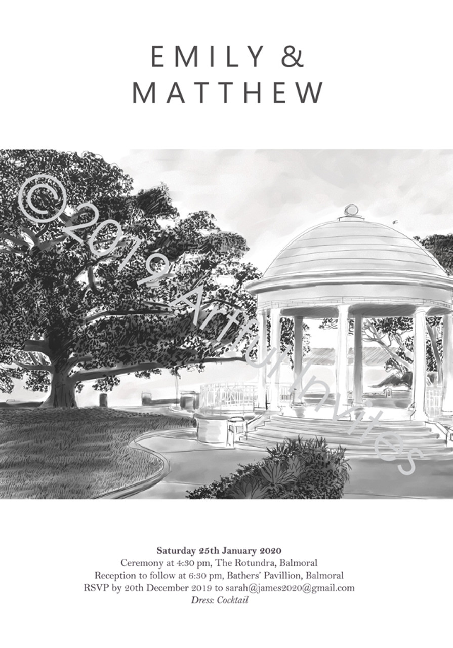 The Rotunda Balmoral Sydney Wedding Invitation