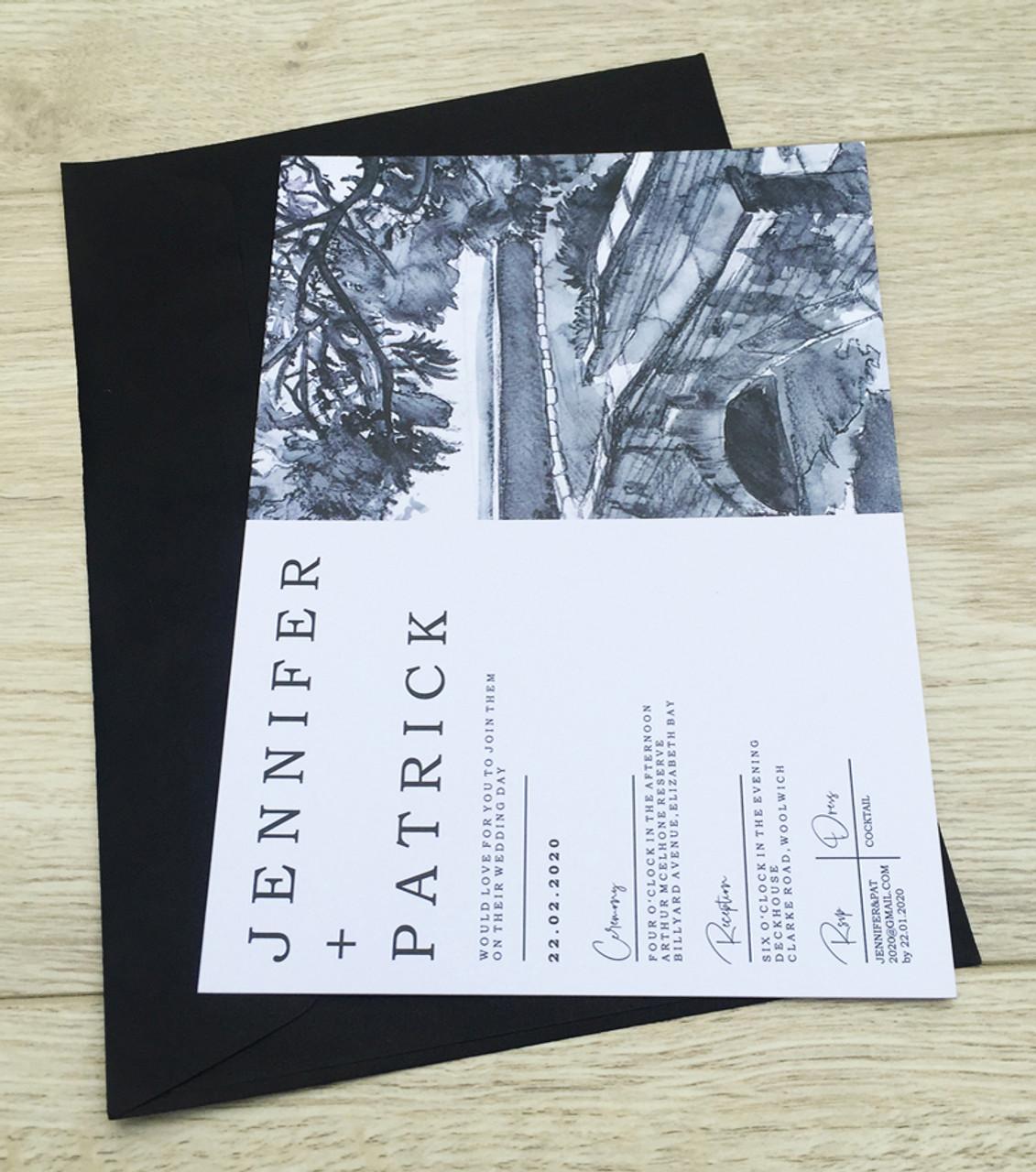 Arthur McElhone Reserve Sydney Wedding Invitation Sample
