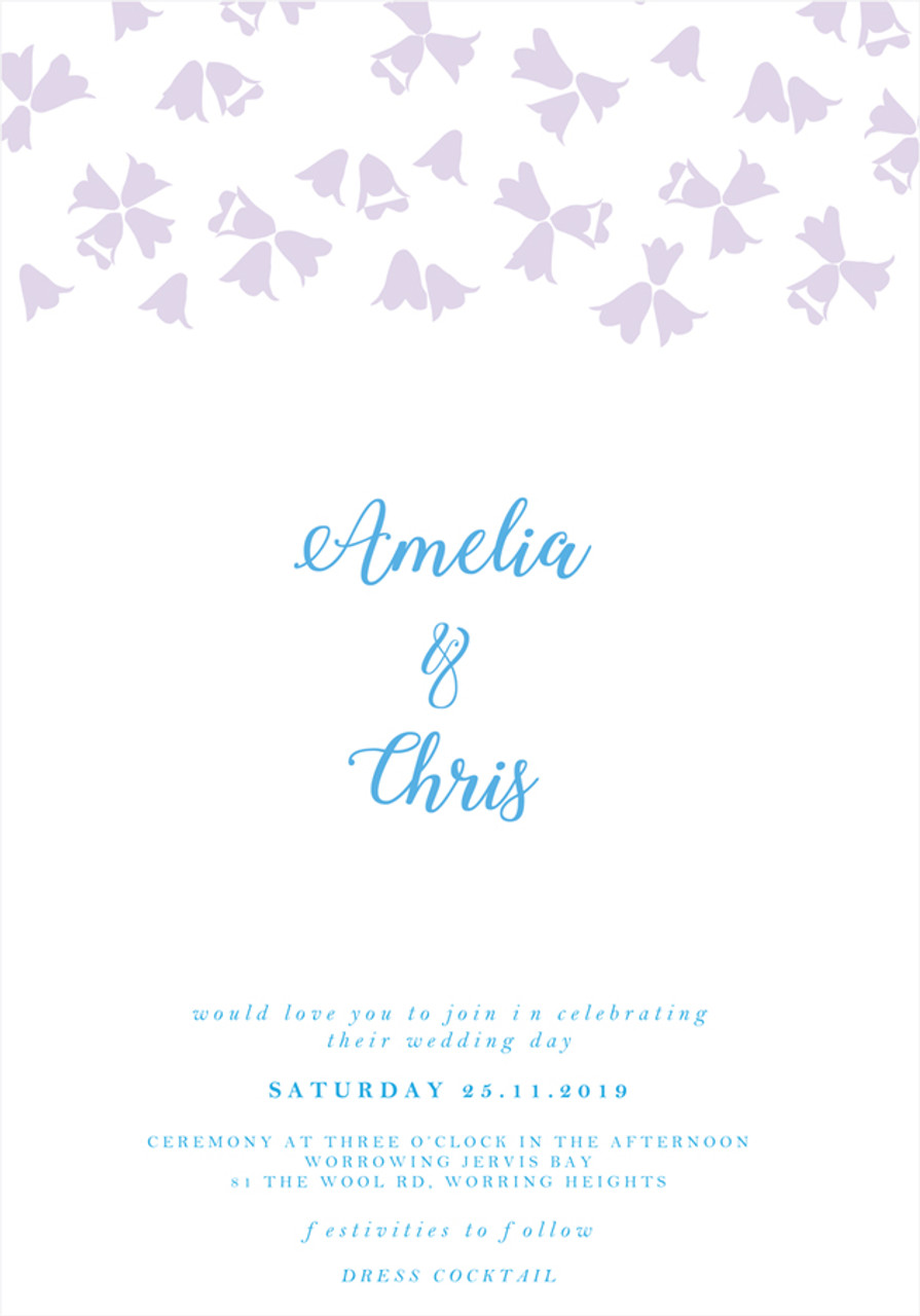 Floral Wedding Invitation - Harebell Flowers Sample