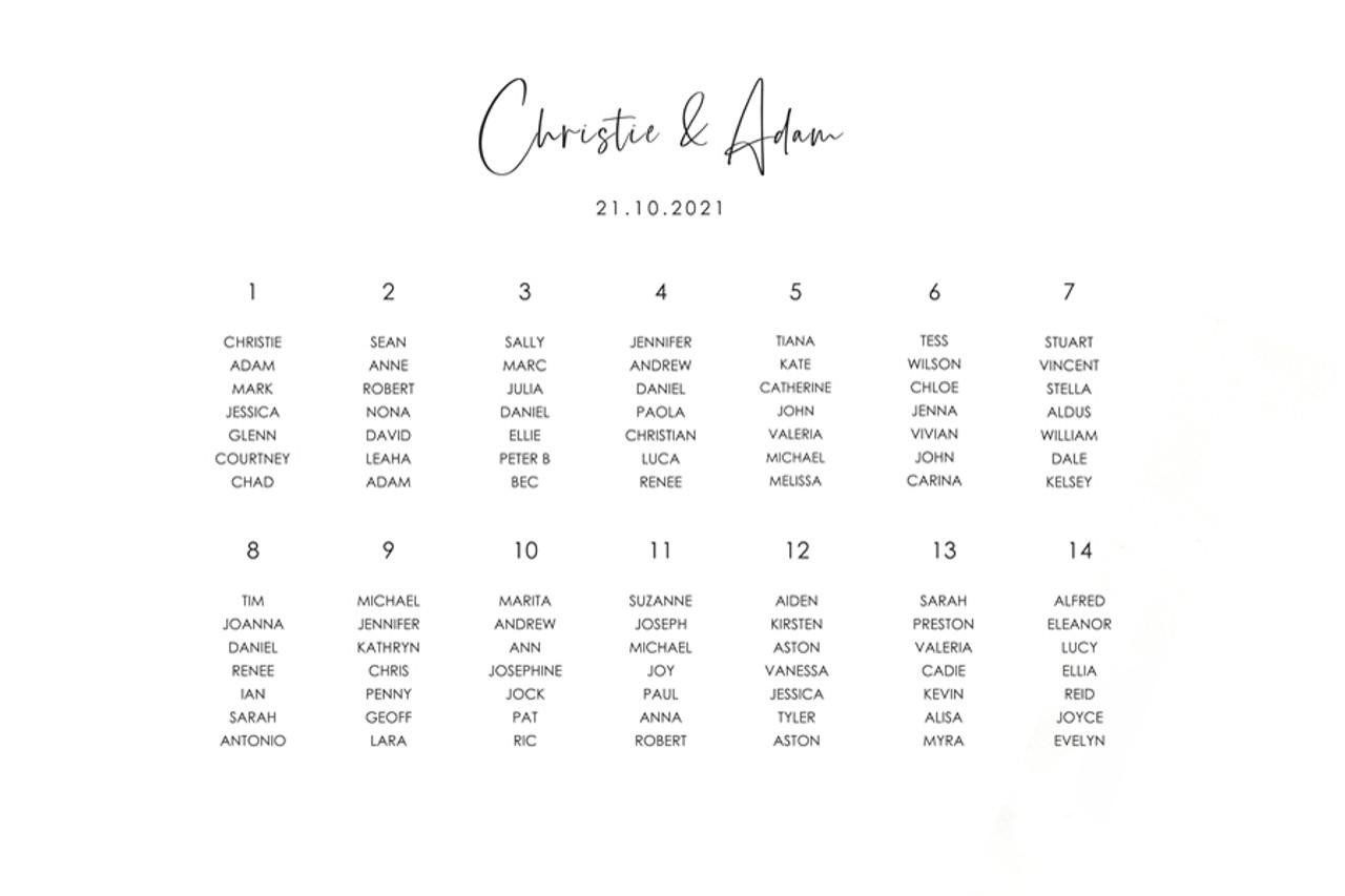 Wedding Seating Chart #2