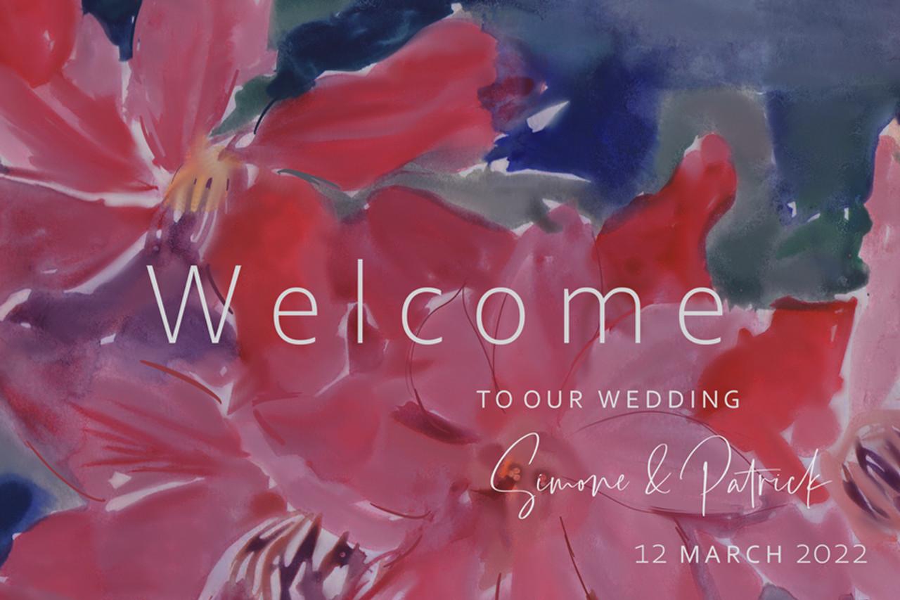 Floral Wedding Welcome Sign - Burgundy & Navy