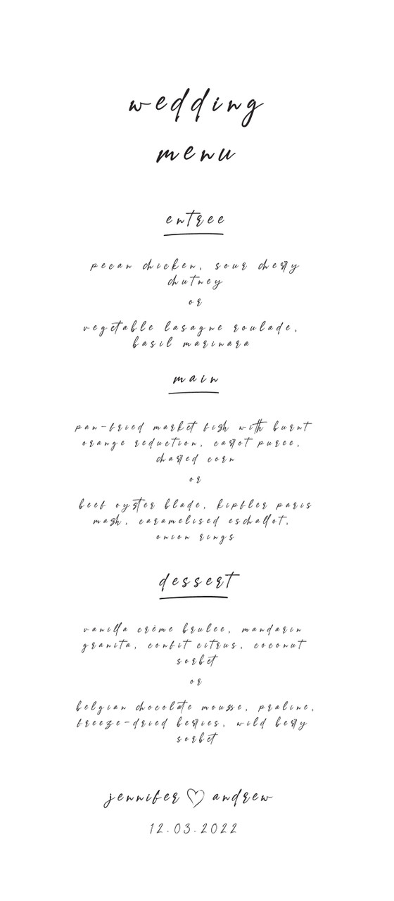 Wedding Menu Card #3 - Very Handwritten