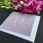 Square Wedding Invitation - White on Grey 2