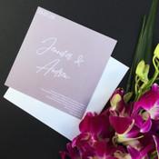 Square Wedding Invitation - White on Grey 2 Sample