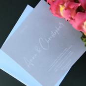 Square Wedding Invitation - White on Grey