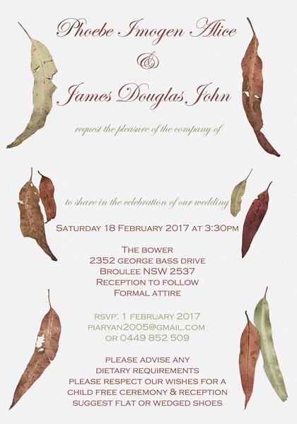 Gum Leaves Wedding Invitation - Wedding Invitations Sydney & Australia