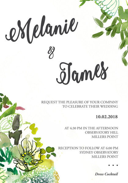 Bouquet Wedding Invitation Sample