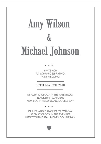 Heart Wedding Invitation Sample