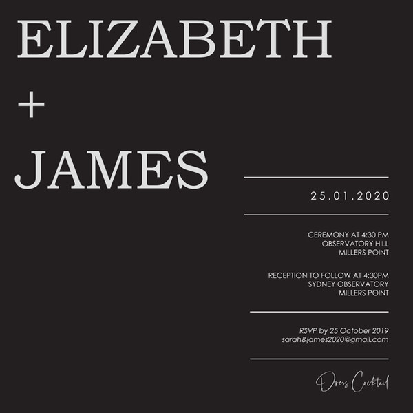 Square Wedding Invitation - White on Black
