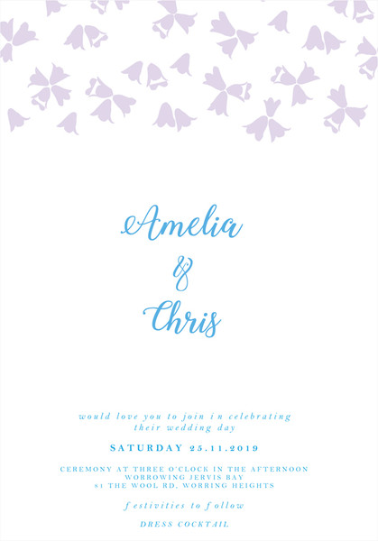 Floral Wedding Invitation - Harebell Flowers Sample