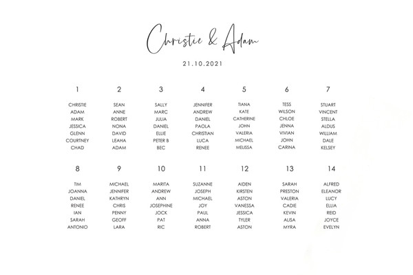 Wedding Seating Chart #2