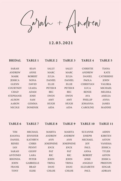 Blush Wedding Seating Chart