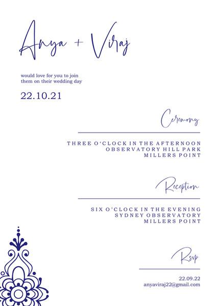 Indian Wedding Invitation #1 - Navy Blue on White