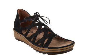 Naot Leather Lace-up Wedge Sandals - - Yarrow