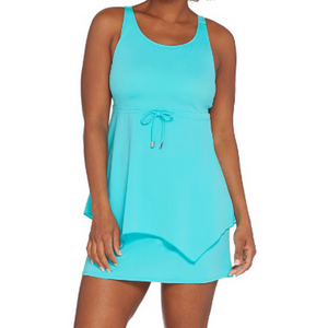Denim & Co. Beach Handkerchief Hem Tankini - Aqua