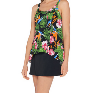 Denim & Co. Beach Hi-Low Tankini Swimsuit with Skirt - Black Tropical