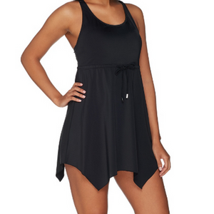 Denim & Co. Beach Handkerchief Hem Swimsuit - Black