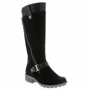 Earth Origins Leather M Calf Tall Boots - Black Suede