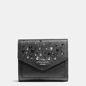 Coach Small Wallet in Metallic Leather With Star Rivets Silvermetallic  Graphite - Grey 7cdc4b8ed016f