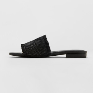 Women's Yvette Slide Sandal - Black thread woven design and raw edges