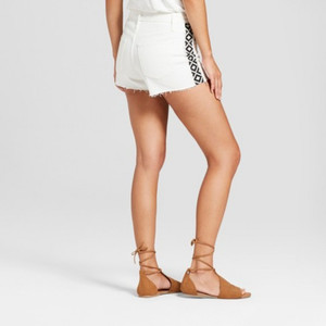 Women's High-Rise Shortie Jean Shorts - Universal Thread White 2