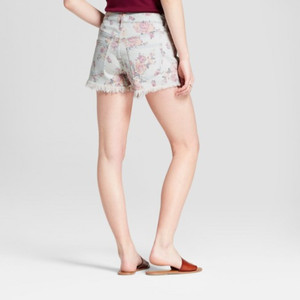 Women's Floral Print High-Rise Jean Shorts - Mossimo 0