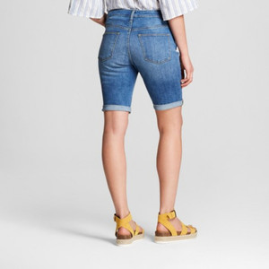 Women's High-Rise Roll Cuff Bermuda Jean Shorts - Universal Thread 0