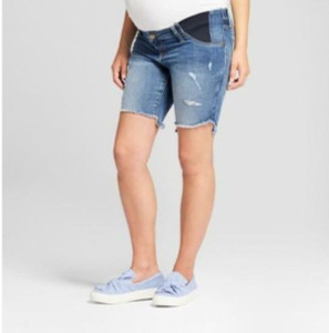 Isabel Maternity by Ingrid & Isabel Maternity Inset Panel Distressed Bermuda Jean Shorts Medium Wash - 4