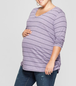 Isabel Maternity by Ingrid & Isabel Maternity Striped Long Sleeve Shirred T-Shirt