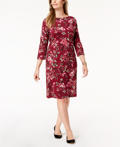 Karen Scott Petite Printed Boat-Neck Dress