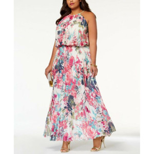 MSK Womens Floral Pleated Halter Maxi Dress