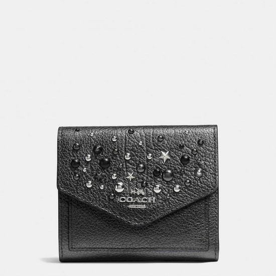 Coach Small Wallet in Metallic Leather With Star Rivets Silvermetallic Graphite  - Grey