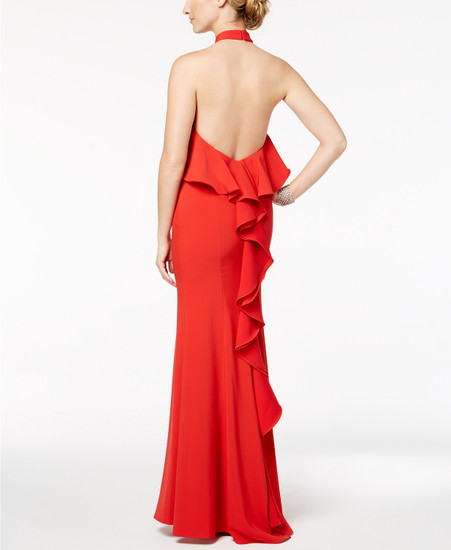 XSCAPE Popover Ruffle-Back Halter Gown