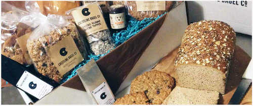 BREAKFAST BOX- $39 4 Miniature Whole Grain Cinnamon Rolls 1 Cinnamon Raisin Walnut Loaf Bread 12oz Uncommonly Good Granola 2 Cranberry Granola Cookies 2 Gingerbread People-hand 'dressed' Crestline Bagel House Roast Coffee- the perfect pot Trio of Gourmet Preserves