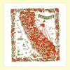California, Red,  Map Towel