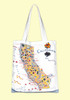 California, blue, Map Tote--Medium