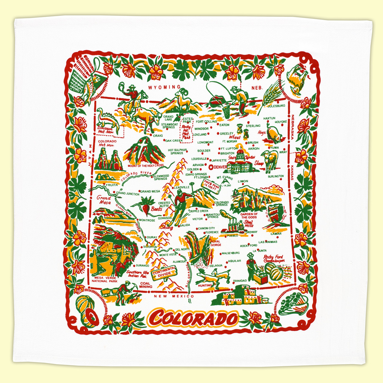 Aguilar Colorado Map.Colorado Map Towel Red And White Kitchen Company