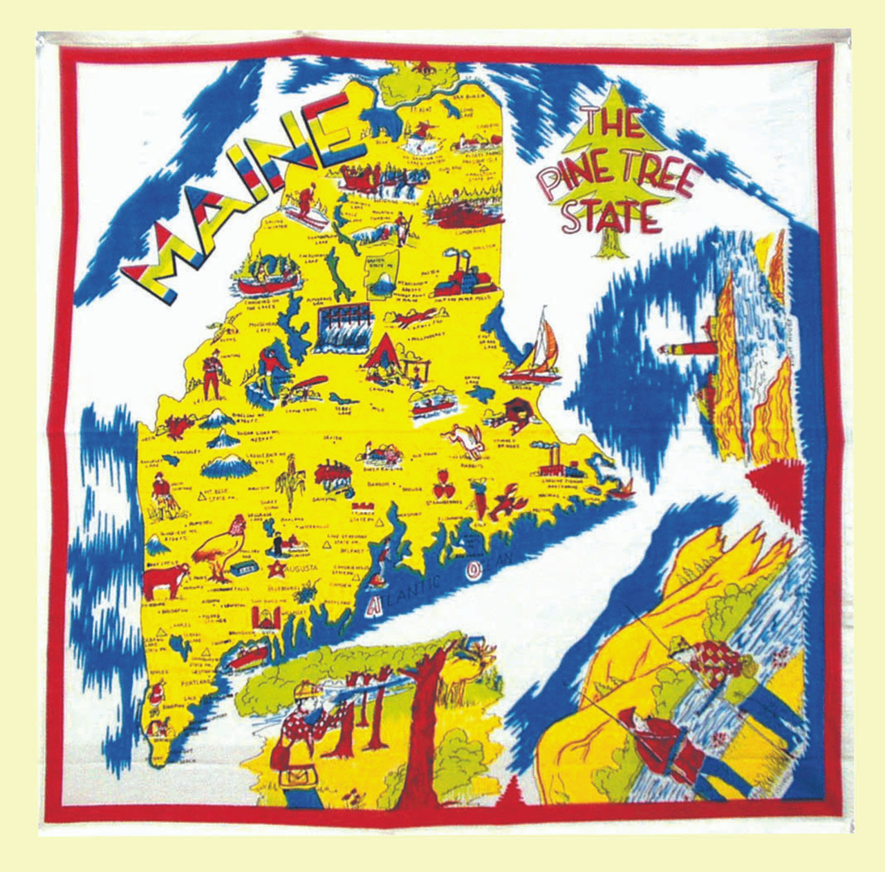 Great retro Maine map printed on a flour sack towel.