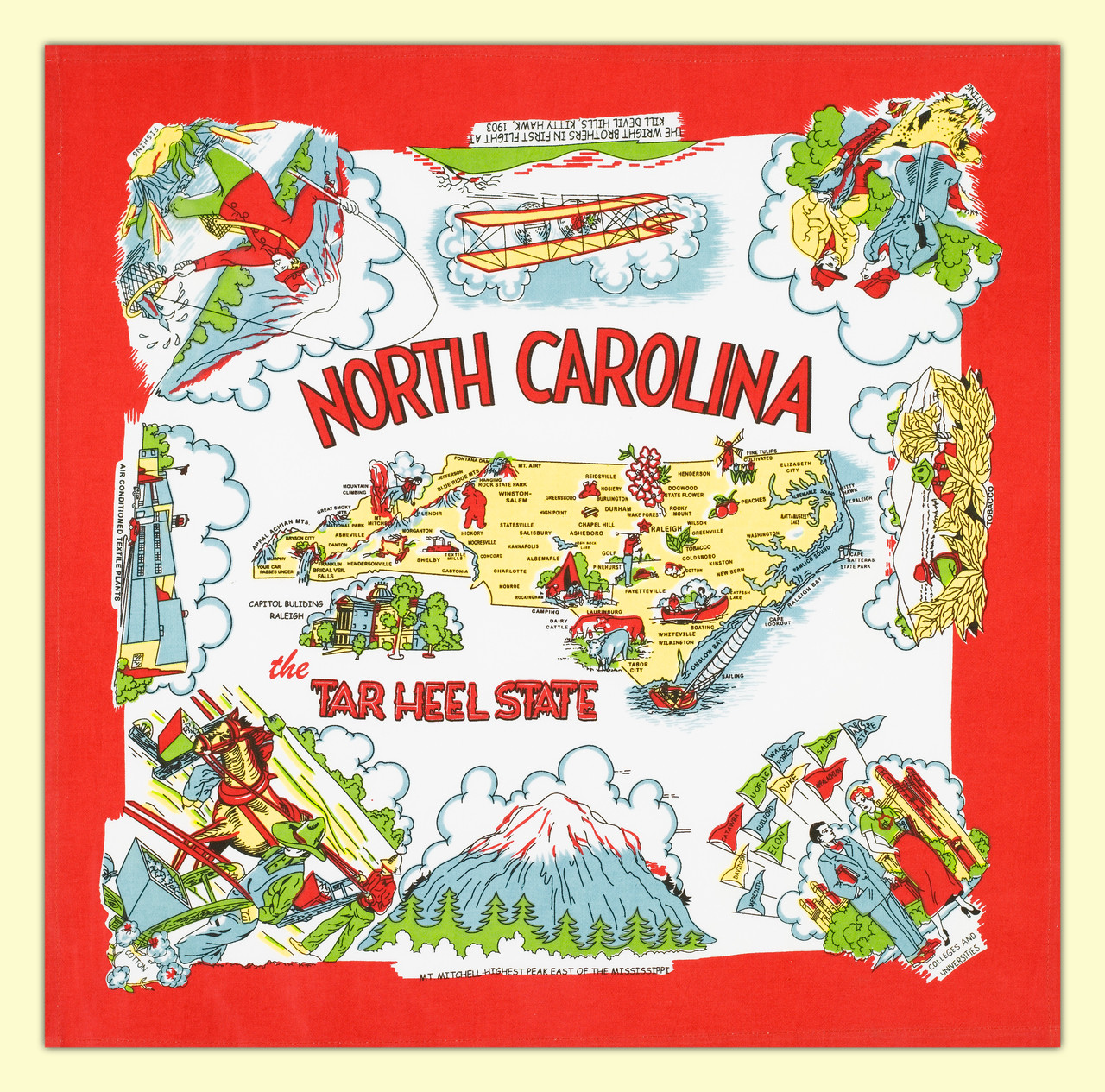 North Carolina Map Towel