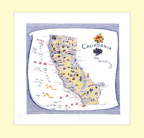 California, Blue,  Map Towel