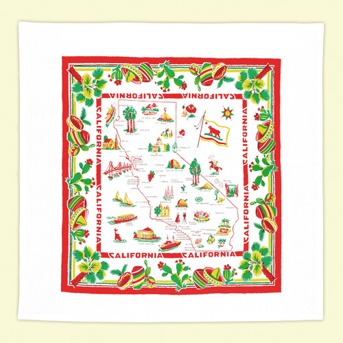 California, Red & White,  Map Towel