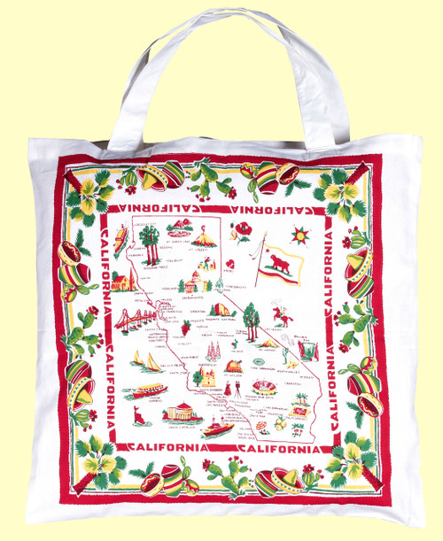 California, Red & White,  Map Tote