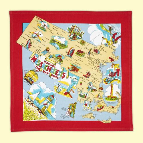 Massachusetts Map Towel