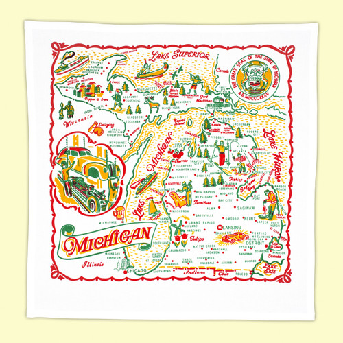 Michigan Map Towel