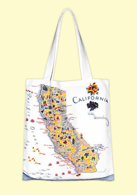 California, blue, Map Tote--Medium